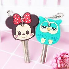 Cartoon Anime Cute Key Cover Cap Silicone Mickey Stitch Bear Keychain Women Gift
