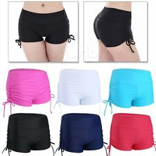 Women Plain Swim Shorts Bikini Swimwear Short Brief Bottoms Athletic Sportswear