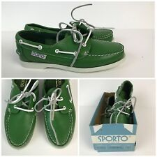 CHOOSE SIZE Vintage 1980s Green Leather Lace Up Deck Shoes Topsiders Boat Shoes