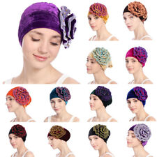 Muslim Women Flower Hijab Velvet Cancer Chemo Cap Turban Hat Arab Wrap Headscarf