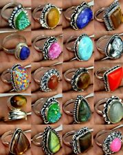 Lace Agate & Mix gemstone 925 sterling silver plated  10pcs Ring EB-1075