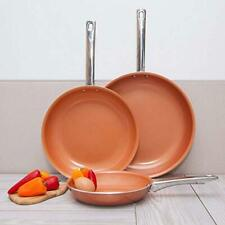 Healthy Non Stick Copper Ceramic 3 pcs. Induction Bottom Frying Pan Skillet Set