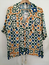 ZARA SS19 STUDIO Print Oversize Gem Button Shirt Blouse Blue Green Yellow S M L