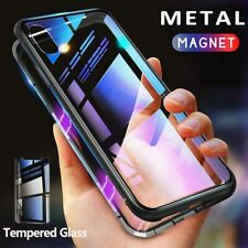 iPhone XR XS MAX X 8 Plus 7 Metal Magnetic Adsorption Case +Tempered Glass Back