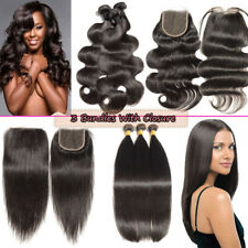 "Unprocessed Brazilian Bundles Hair with Closure 100% Human Hair Weave 8-30"" X176"