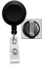 100 Pack Bulk - Retractable ID Card Badge Reels with Vinyl Strap and Belt Clip