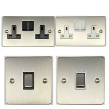 Flat Plate Brushed Steel Light Switches & Plug Sockets