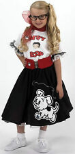 YOUTH Black BETTY BOOP Poodle skirt outfit-FUN-7 pcs girls retro sock hop
