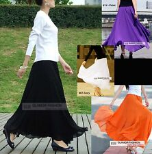 "NEW Full Circle Chiffon Skirt 35"" / 90cm Length Long Skirt 25 colors XS ~ 3XL"