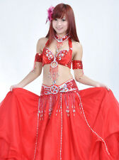 New Belly Dance Costume 5 pics Set of Bra&Belt&Necklace& Two Arms 12 colours
