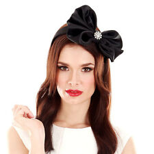 INSTANTLY FABULOUS Fascinator Race Day  F1000 BLACK SATIN BOW DIAMONTE CENTRE HB