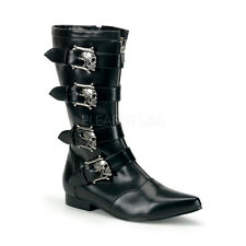 DEMONIA BROGUE-107 Men's Punk Goth Black Skull Buckle Pointed Toe Calf Boots