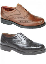 Mens Wide Fitting Shoes Leather Brogues Black / Brown