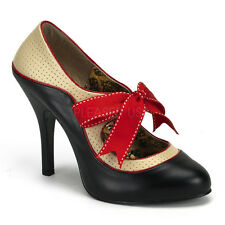 BORDELLO Tempt-27 Sexy Cream And Black Red Ribbon Mary Janes High Heels Shoes