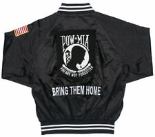 POW * MIA: BRING THEM HOME* YOU ARE NOT FORGOTTEN SATIN JACKET w/ Shoulder Flag