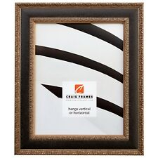 """Craig Frames Galerie, 1.75"""" Antique Silver and Black Picture Frame"""