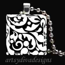 BLACK WHITE DAMASK GLASS TILE PENDANT NECKLACE KEYCHAIN