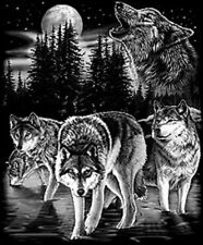 Wolves Howling At The Moon Black T-Shirt Any Size