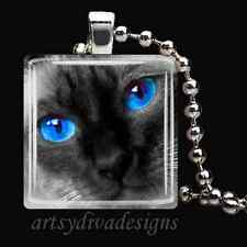 SIAMESE KITTY CAT GLASS TILE PENDANT NECKLACE KEYCHAIN