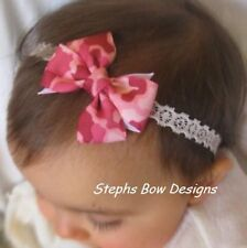 SHOCK PINK CAMO DAINTY HAIR BOW LACE HEADBAND INFANT