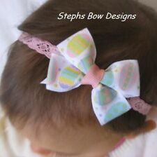 CUTE EASTER EGGS SPRING DAINTY HAIR BOW LACE HEADBAND NEWBORN INFANT BABY  CUTE