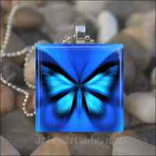 ELECTRIC BLUE BUTTERFLY SPRING SUMMER GARDEN GLASS TILE PENDANT NECKLACE KEYRING