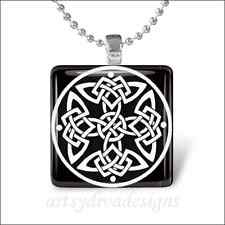 """CELTIC DESIGN"" GLASS TILE PENDANT NECKLACE KEYCHAIN"