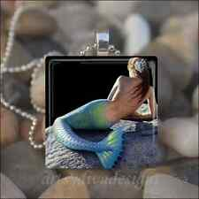 MERMAID OCEAN GLASS TILE PENDANT NECKLACE KEYCHAIN
