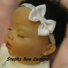 WHITE DAINTY HAIR BOW LACE HEADBAND EASTER CHRISTMAS