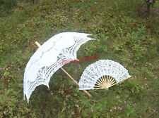 "30"" Handmade Lace Parasol & Hand Fan For Wedding Bridal Umbrella Free Shipping"