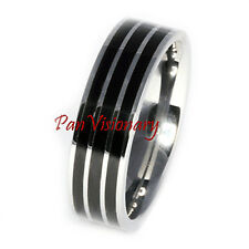 Black Stripe Ring Tungsten Carbide Pipe Cut 8mm  Epoxy sizes 12 13 15 Clearance