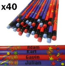 40 Personalised Pencils with Rubber Tips + FREE POST