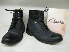 Mens Clarks SALE Russett Cap Black Leather Casual Lace Up Boots