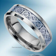 Tungsten Ring Wedding Band Blue Celtic Inlay Design 8MM Flat Bevel