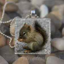 """BABY SQUIRREL"" GLASS TILE PENDANT NECKLACE KEYCHAIN"