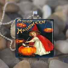"""VINTAGE JOLLY HALLOWEEN"" GIRL WITCH PUMPKIN GLASS TILE PENDANT NECKLACE KEYRING"