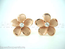 Sterling silver 16mm Plumeria stud earrings w/ cz SG