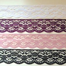"QUALITY PRETTY LACE 2.5"" wd  WHITE, BLACK, IVORY, PINK, RED - CHOICE!  5mts"