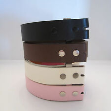 New mens womens genuine leather snap on belt strap no buckle black brown pink