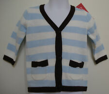 GYMBOREE GIRLS BLUE & WHITE STRIPED CARDIGAN SWEATER SIZE 6-12 Mos NWT
