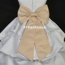 CHAMPAGNE TIE BOW SASH FOR WEDDING FLOWER GIRL DRESS sz S M L 2 4 5 6 8 10 12 14
