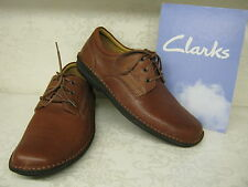 Clarks Sentry Plain Mahogany Brown Leather Lace Up Casual Shoes