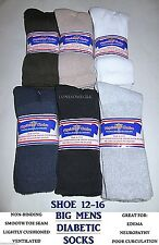 FREE Ship 6 Pairs BIG MENS Physicians Choice Cushioned Diabetic Crew Socks 13-15