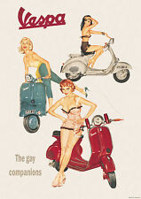 Vespa Classic Scooter 'The Gay Companions' Picture Poster Print A1 2 variations
