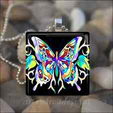 """RAINBOW BUTTERFLY"" GLASS TILE PENDANT NECKLACE KEYCHAIN"