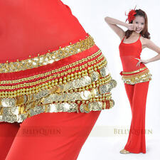 10 color Hip Scarf 3 Rows Gold Coins Belt Chain Belly Dance Costumes