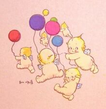 KEWPIE'S FLOATING W/COLORED BALLOONS FABRIC BLOCK NOT IRON ON YOU CHOOSE SIZE
