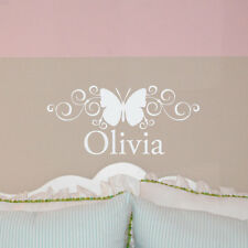 Personalized NAME w/ Scroll BUTTERFLY wall decal, girl's bedroom vinyl lettering