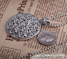 Antique Silver Beautiful Flower Round Pendant Chain Necklace