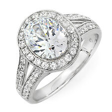 1.55 Carat Natural Oval Diamond W/ Round Pave Engagement Ring G, VS1 14K Gold